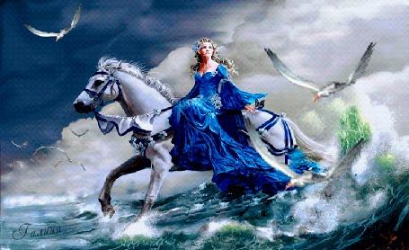 Анимация Девушка в голубом платье на лошади на волнах, автор Галина