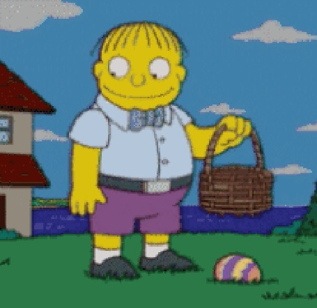 Анимация Ральф Виггам кладет яйцо в дырявую корзину, оно падает, он его поднимает, мультфильм The Simpsons / Симспсоны