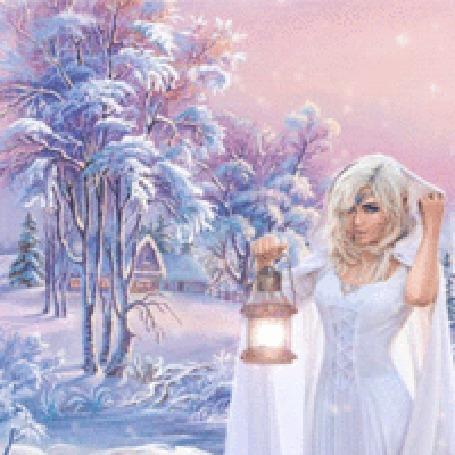 Анимация Девушка с фонариком в снежном лесу