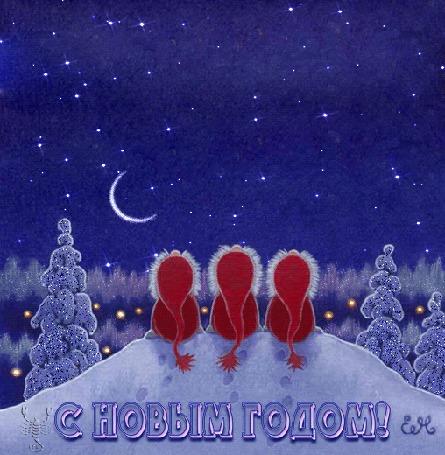 Анимация Три фигурки сидят в лесу на снегу и наблюдают за падающими звездами, (С Новым годом!)