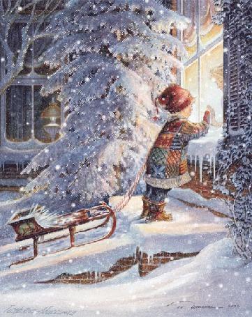 Анимация Ребенок с саночками смотрит в окно дома