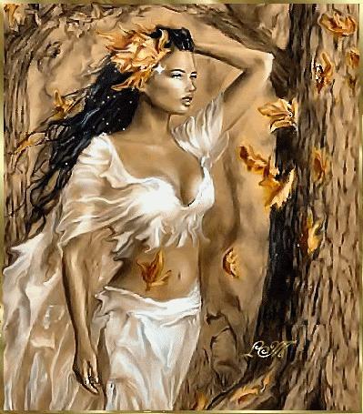 Анимация Девушка в развевающихся белых одеждах стоит под листопадом желтых осенних листьев, by LT