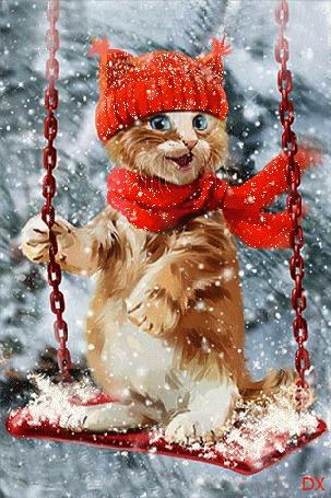 Анимация Котенок в красной шапке и шарфе, качается на качели под падающим снегом