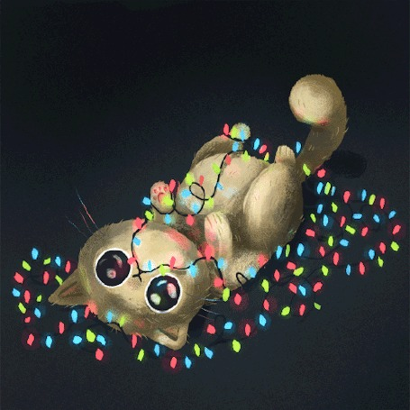 Анимация Котик лежит на полу с мигающей гирляндой