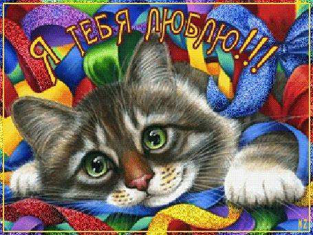 Анимация Полосатая кошка лежит среди разноцветных лент, моргая глазами (Я тебя люблю!), by NZ