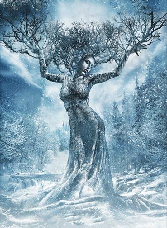 Анимация Девушка с ветками на голове и руках стоит среди зимнего леса, by a-zarina