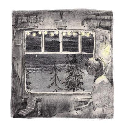 Анимация Девушка едет в поезде и смотрит в окно