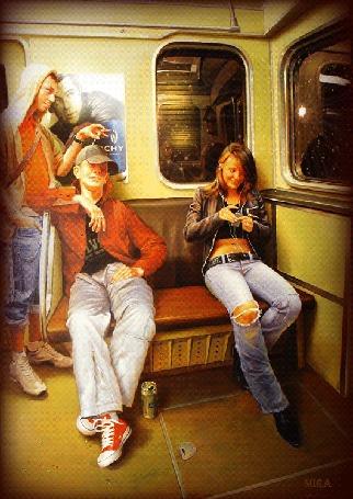 Анимация Два парня в электричке пытаются познакомиться с девушкой, которая сидит в наушниках, косухе, черной маечке, джинсах с рваной коленкой и мило улыбается, by MIRA