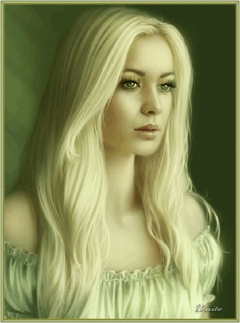 Анимация Портрет красивой зеленоглазой блондинки, в светло- зеленом платье, с оголенными плечами и с развевающимися волосами, автор Livita