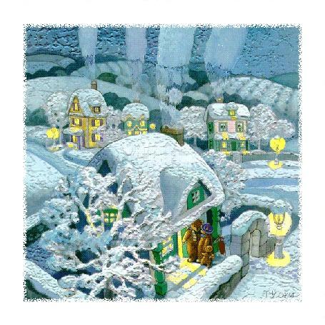 Анимация Сказочная зимняя деревня с семейством медведей на крыльце дома, автор Т. Йоки