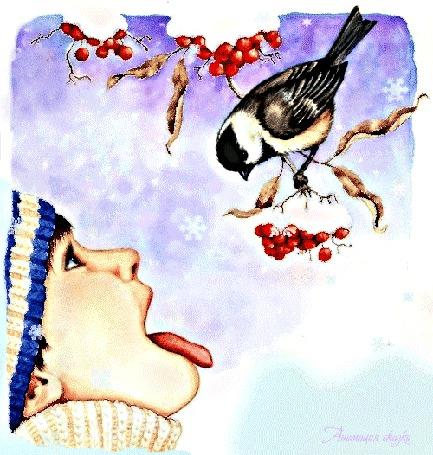 Анимация Мальчик поднял вверх голову, подставил язык под падающие снежинки и смотрит на птичку, сидящую на ветке красной рябины, Анимация сказки