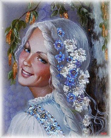 Анимация Голубоглазая девушка с ямочкой на щеке стоит улыбаясь, в полоборота, волосы девушки украшены белыми и голубыми сверкающими цветами (Зазноба. Лаковая миниатюра Светланы Беловодовой), by Leila