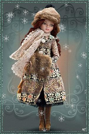 Анимация Игрушечная девушка куколка стоит под падающими сверху снежинками, на фоне с узорами, в зимней одежде, спрятав руки в меховую муфточку, by NZ