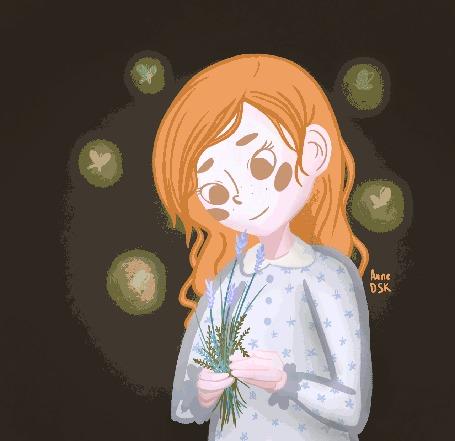 Анимация Девочка держит в руке букет, вокруг нее летают в темноте светящиеся девочки эльфы, by AnneDsk