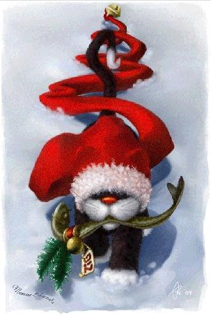 Анимация Кот в шапке Санта Клауса с длинным шлейфом идет по снегу и держит в зубах подарок в виде рыбы, с привязанными хвойными ветками, елочным шаром и биркой с надписью ZIG (Крутой поворот), by Татьяна Абиссинка