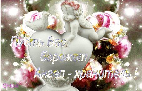 Анимация Ангелочек и голубь расположились на сердечке на блестящем цветочном фоне (Пусть Вас бережет Ангел-хранитель!)