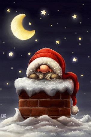 Анимация Дед мороз сидит в трубе на фоне звездного неба, by dixinox