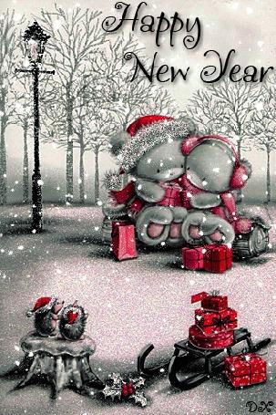Анимация Два медвежонка тедди сидя в парке под снегопадом и дарят друг другу подарки (Happy New Year / Счастливого нового года), by dixinox