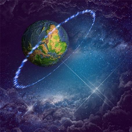 Анимация Космос - планета крутится в светящемся ореоле