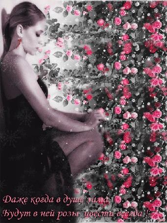 Анимация Девушка сидит около куста с розами, с которых летит снег, (Даже когда в душе зима, будут в ней розы цвести всегда!) автор Ирис