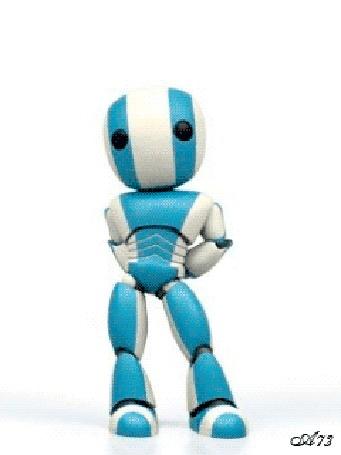 Анимация Застенчивый робот шаркает ногой на белом фоне, by Akela 73