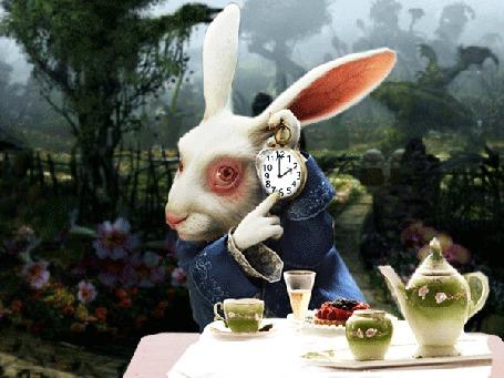 Анимация Всегда опаздывающий белый кролик / The White Rabbit с часами, мультфильм Алиса в стране чудес / Alice in Wonderland