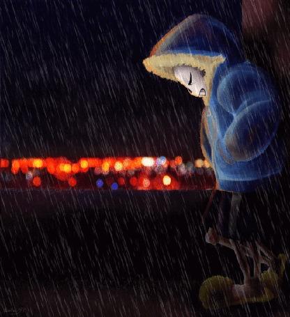 Анимация Фриск / Frisk - персонаж игры Андертейл санс / Undertale Sans стоит в курточке с капюшоном под дождем