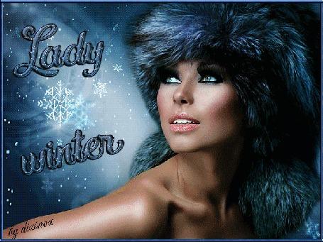 Анимация Девушка в меховой шапке на фоне летящих снежинок (Lady winter / Леди зима), by dixinox