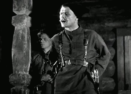 Анимация Борис Бабочкин в роли Чапаева на первом плане, на втором плане Леонид Кмит в роли Петьки, х / ф Чапаев