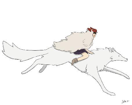 Анимация San / Сан и Моро / Moro из аниме Принцесса Мононокэ / Princess Mononoke