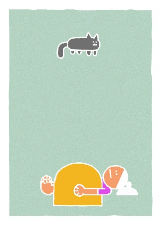 Анимация Кошка прыгает на животе спящего человека