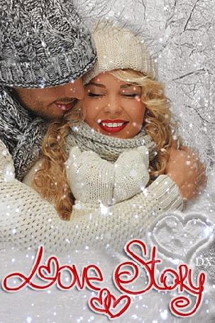 Анимация Мужчина нежно обнимает девушку под падающим снегом (Love story / Любовная история), by dixinox