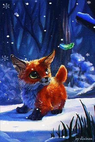 Анимация Лисенок в зимнем лесу зачаровано смотрит на перышко, by dixinox