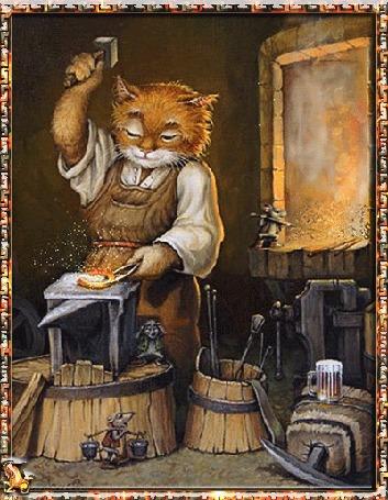 Анимация Рыжий кот кует подкову, ему помогают мыши: одна разгребает угли в огне, другая носит воду на коромысле, а третья просто заткнула уши от грохота наковальни, исходник / by Alexander Maskaev