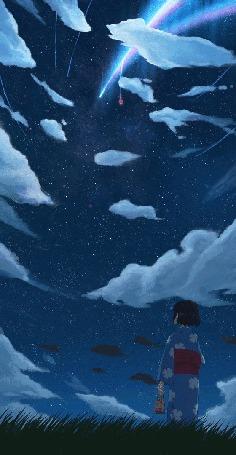 Анимация Мицуха Миямизу / Mitsuha Miyamizu из аниме Твое имя / Kimi no Na wa