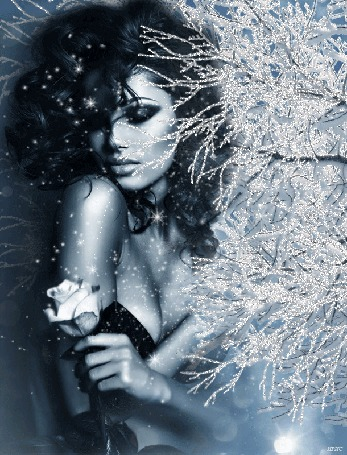 Анимация Грустная девушка держит розу в руке на фоне веток, покрытых инеем, идет снег