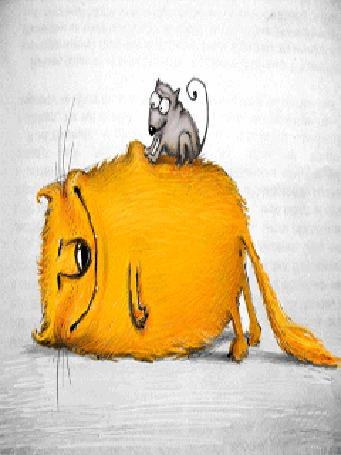 Анимация Желтый кот лежит и балдеет от удовольствия, на нем сидит мышь и делает массаж
