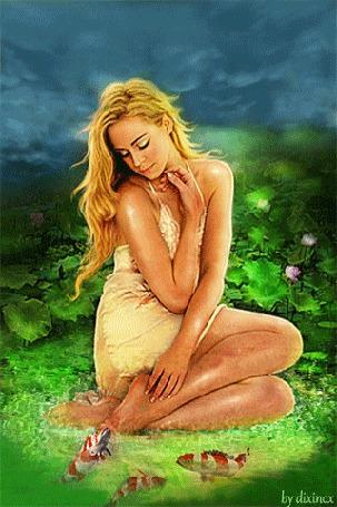 Анимация В волшебном саду девушка беседует с карпами коя, by dixinox