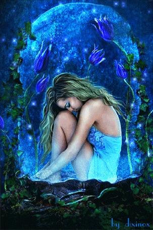 Анимация В полнолуние девушка грезит среди синих тюльпанов, by dixinox