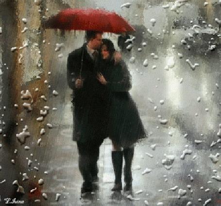 Анимация Пара идет под зонтом по дождливой улице на фоне стекающих капель