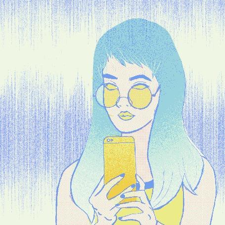 Анимация У девушки держащей в руке смартфон плохие мысли покидают голову