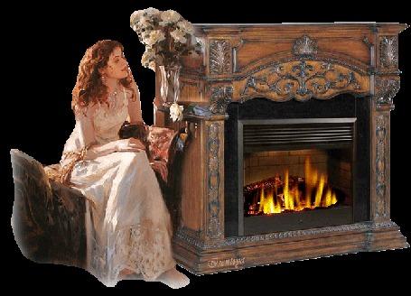 Анимация Девушка сидит у камина и смотрит на букет белых роз