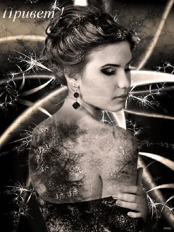 Анимация Красивая девушка с рисунком веток, цветов на спине, платье на фоне вращающегося абстрактного фрактала, переливающегося звездочками, (Привет! ) а