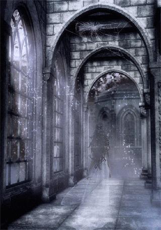 Анимация Девушка бежит по коридору старинного замка, роняя платок, из окон светят лучи солнца