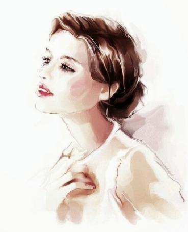 Анимация Портрет красивой девушки, устремленно смотрящей вдаль, меняющийся с цветного на черно -белый, (c)