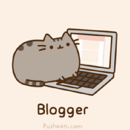 Анимация Кот Пушин / Pusheen набирает что - то на клавиатуре ноутбука (Blogger / Блоггер)