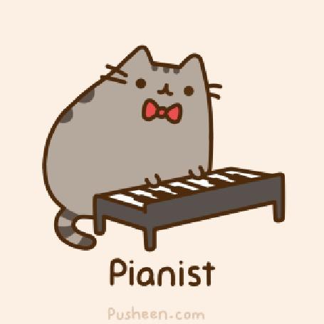 Анимация Кот Пушин / Pusheen играет на пиано (Pianist / Пианист)