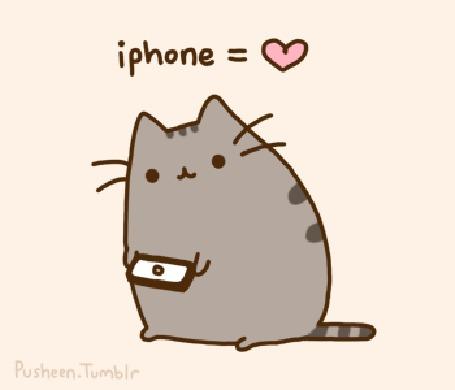 Анимация Кот Пушин / Pusheen играет в кошки - мышки на айфоне (iphone / айфон)