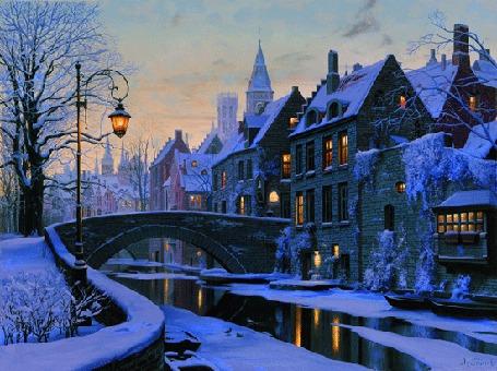 Анимация Река с мостом на фоне зимнего вечернего пейзажа в городе с мерцающими огнями и бегущими облаками, исходник работа художника Евгения Лушпина