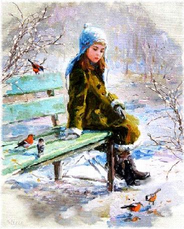 Анимация Девочка сидит на лавочке и смотрит на птичек